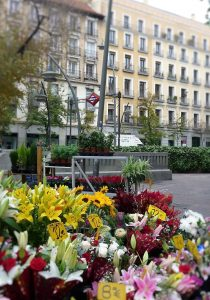 Famille d´accueil: Place de Tirso de Molina, à la sortie du métro, avec ses postes de vente de fleurs