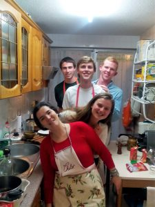 Homestay services: host family cooking with students