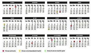 Jours fériés à Madrid 2016-2017