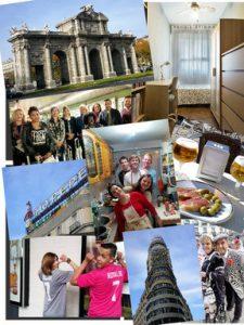 Cours d´espagnol à Madrid: collage représentant des étudiants et des monuments madrilènes.